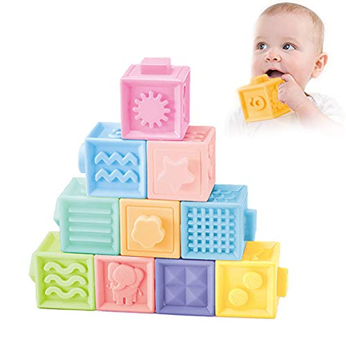 NUOEY Baby Blocks Soft Building Blocks Teething Chewing Toys Early Educational Squeeze Stackable Baby Toys Play with Number,Animals,Textures and Matching Game for Boys and Girls
