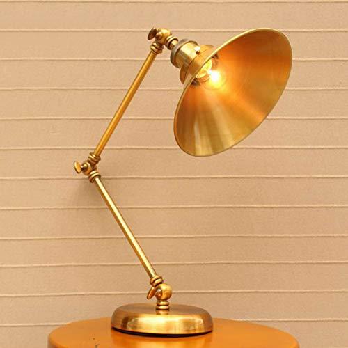 QLIGHA Lámpara de Escritorio LED Vintage, portalámparas de Tornillo E27, lámpara de Arquitecto con Brazo oscilante Dorado, Abrazadera Flexible en la lámpara de Mesa para el Lectura, Estudio, Oficina