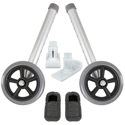 Vive Walker Wheels and Ski Glides - Replacement Feet - Accessories Parts Set for Folding Medical Walkers - Universal Front, Back Stability Safety Wheel - Includes 2 Glide Tips, Two 5 Inch Rubber Wheel