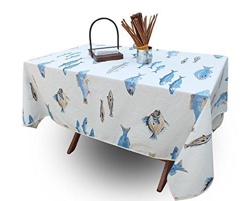 jojo la cigale - Nappe CALANQUES Coton Imprimé Enduit Rectangulaire 160x200cm Blanc & Bleu