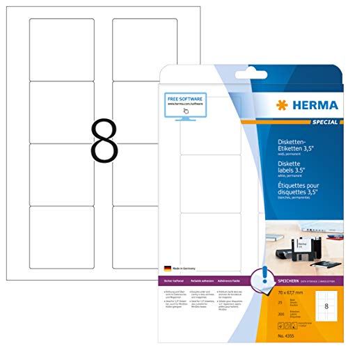 HERMA 4355 Disketten Etiketten 3,5' DIN A4 (70 x 67,7 mm, 25 Blatt, Papier, matt) selbstklebend, bedruckbar, permanent haftende ZIP-Disk-Aufkleber, 200 Klebeetiketten, weiß