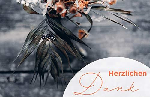 20 Exclusive Premium Danksagungskarten Trauerkarten Klappkarten mit 20 Umschlägen im Set - Danke nach Trauer, Beerdigung, Sterbefall, Friedhof, Begräbnis Dankeskarten Danksagung