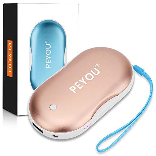 PEYOU Calentador de Manos USB Recargable, 7800mAh/5200mAh [ con Luz LED Función de Iluminación ] Banco de Energía Portátil, Calentador de Bolsillo para Mujeres - Regalo para Familia, Amigos