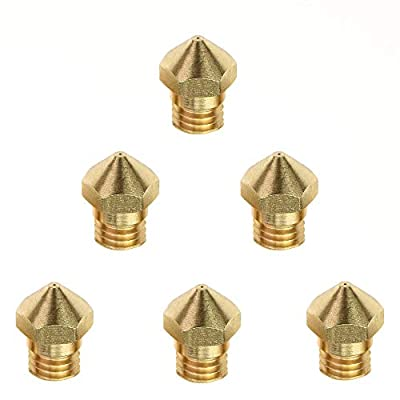 (6 Pcs) Brass MK10 Extruder Nozzle .2mm .3mm .4mm .5mm .6mm .8mm M7 Thread for Flashforge/Wanhao/Dremel/Makerbot V2/PowerSpec/Cocoon 3D Printer 1.75mm Filament