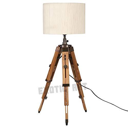 Exotic Art Lámpara de pie con trípode de madera natural (accesorios marrón...