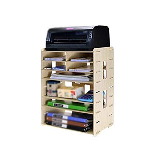 Belleashy Schreibtisch Akten-Halter Kreative Multifunktionale Holz Desktop Storage A4A3 Datei Halter Druckerhalterung Multi-Color Optional File Sorter (Color : A, Size : 56x26x42cm)