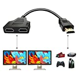 HDMI Splitter Adapter Cable - HDMI Splitter 1 in 2 Out HDMI Male to Dual HDMI Female 1 to 2 Way for HDMI HD, LED, LCD, TV, Support Two The Same TVs at The Same Time