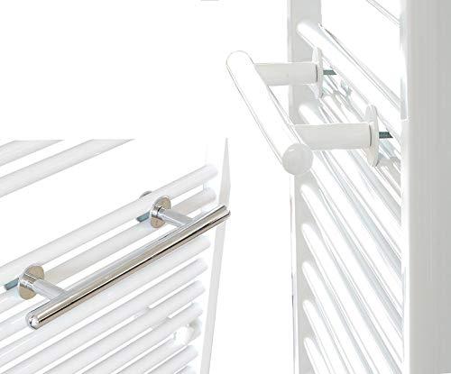 Ekershop Handtuchhalter 500mm Stange für Badheizkörper Regal Handtuchstange Handtuchablage (Weiß)