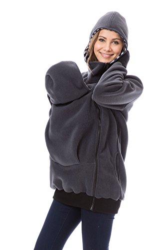 GoFuture Damen Tragejacke für Mama und Baby Känguru Klassiker VIVA GF2301XI5 Graphit mit marineweißen Streifen - 2