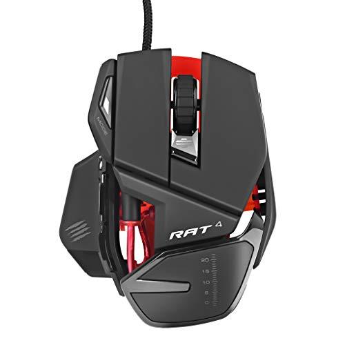 Mad Catz RAT4 USB Corded Lasermaus 5000 DPI RGB Gaming-Maus mit Optischer Sensor Programmierbar kabelgebunden Mouse 9 Tasten verstellbares Wired Mouse kompatible mit Win 7 / Win 8 / Win 10