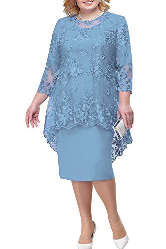 BABYONLINE D.R.E.S.S. Lace Grosse groessen Brautmutterkleider mit Jacke Für Hochzeitskleider Festliche Kleider Etuikleid Kurz, staubiges Blau, Gr.48