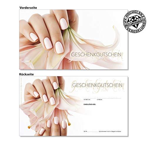 50 hochwertige Gutscheinkarten Geschenkgutscheine. Vorderseite hochglänzend. Gutscheine für Nagelstudio Nailart Kosmetikinstitut. KS1278