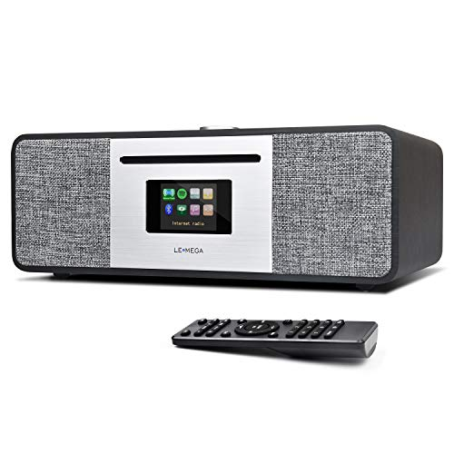 LEMEGA MSY5 20W All-in-One Smart Music System with FM Digital Radio, CD Player, WiFi, Bluetooth, Stereo Sound, USB MP3, Headphone-Out, Alarm Clock, Colour Display– Black Oak
