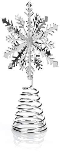 com-four® Weihnachtsbaumspitze Schneeflocke - Christbaumspitze für den Weihnachtsbaum - Schneeflocke zum Hinstellen für Weihnachten (silberfarben)