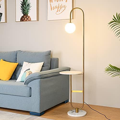 IREANJ Lámpara de Piso Mesa Redonda de la lámpara Moderna Lámpara de LED Permanente con Art Deco Sala de Lectura del sofá Luces del Dormitorio del Hotel de Noche Las Luces (Lampshade Color : Marble)