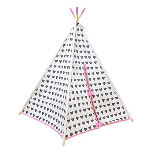 XZGang Princesa Carpa Casa, Tienda de campaña de la India con el patrón Lindo del corazón, de la Muchacha de los niños Tienda del Juego - el Arco Rosado - 4 sólidos Postes de Madera Espacio Infantil
