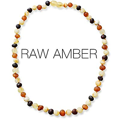 Meraki Adult Amber Necklace - Raw Unpolished Baroque Baltic Amber Necklace   All Natural Pain Relief for Adults to Help Migraines, Sinuses, Arthritis and More   Multi Color (18 Inches)