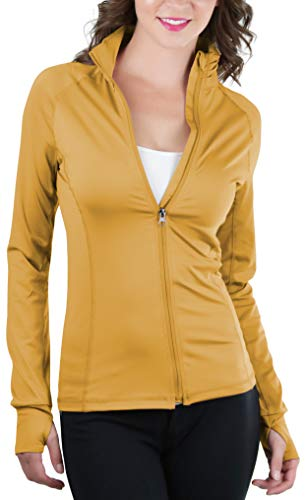 ToBeInStyle Women's Color Block L.S. Full Zip-Up Track Jacket - Deep Mustard - Large