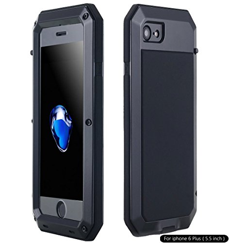 iPhone 6S Plus Case, Shockproof Dustproof Waterproof Heavy Duty Gorilla Glass Aluminum Alloy Metal Military Protector Skin Bumper Cover Shell Case for Apple iPhone 6 Plus / 6s Plus (Black)