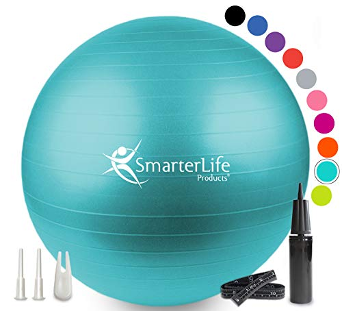 SmarterLife Exercise Ball for Yoga, Balance, Stability - Fitness, Pilates, Birthing, Therapy, Office Ball Chair, Classroom Flexible Seating - Anti Burst, Non Slip, PRO Workout Guide (Turquoise, 75 cm)