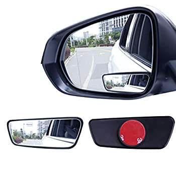 Livtee Framed Rectangular Blind Spot Mirror HD Glass and ABS Housing Convex Wide Angle Rearview Mirror with Adjustable Stick for Universal Car  2 pcs