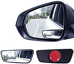 Livtee Framed Rectangular Blind Spot Mirror, HD Glass and ABS Housing Convex Wide Angle Rearview Mirror with Adjustable Stick for Universal Car (2 pcs)