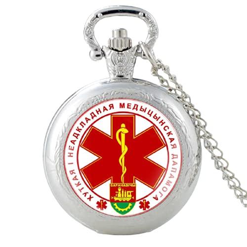 Reloj de bolsillo EMT de la República de Belarús para hombres y mujeres de emergencia médico técnico colgante collar horas reloj