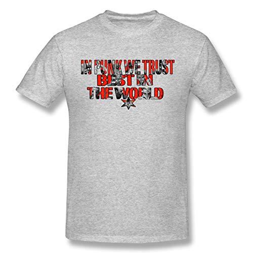 FERFF Cm_Punk_Custom_Logo Men's Basic Short Sleeve T-Shirt Casual Cotton Soft T Shirts Gray M