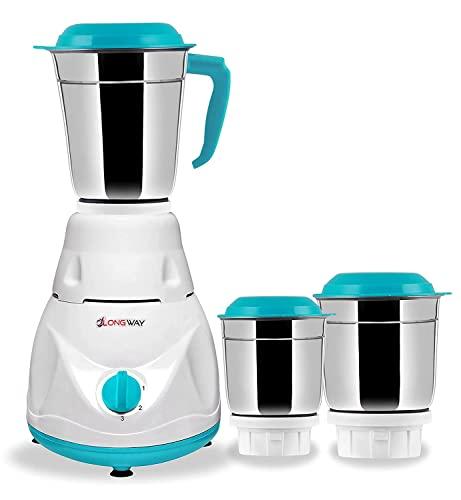 Longway Pluto 2 Jar 550 Watt Mixer Grinder - White & Blue