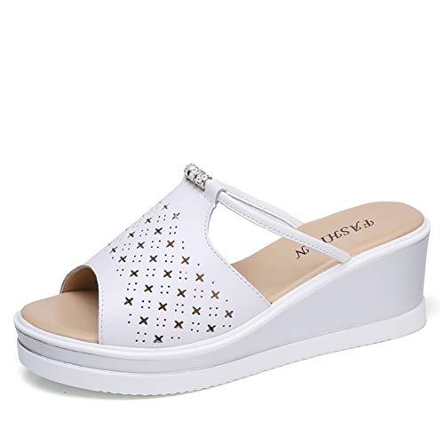 Las Mujeres Plataforma Tacones Sandalias Peep Toe Mules Clogs Cristal Elegante Tacones Altos de Las señoras Slip en cuña tacón Zapatos de Verano Casual