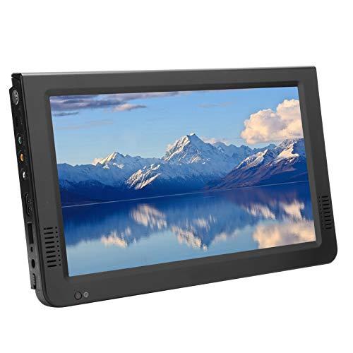 Goshyda TV HD portátil, 10 Pulgadas 16: 9 DVB-T / T2 HD 1920X1280 TV Digital USB con Soporte de Ventosa para Exteriores, Consola de Juegos, Enchufe de la UE 110‑220V