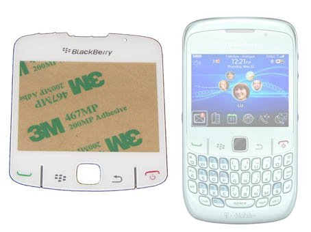 Blackberry 8520Curve Ersatz Bildschirm Objektiv in weiß–einfache Selbstmontage, mit Aufkleber selbstklebend und Gummi Tasten Pad befestigt für einfache und schnelle selbst Ersatz–ersetzen Ihre beschädigten/Top Bildschirm Schnell, kostengünstig und einfach