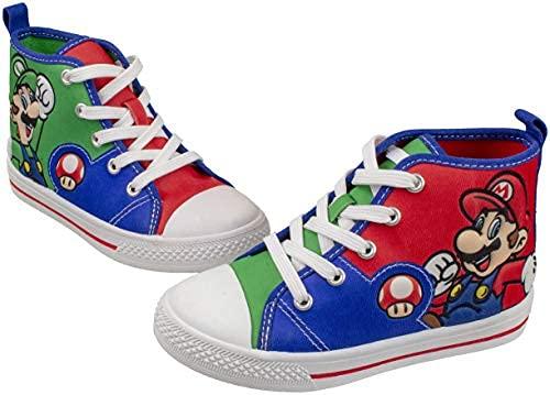 SUPER MARIO Brothers Mario Luigi Kids Shoe, Nintendo Hi Top Sneaker Laces,Toddlers Kids, Size 7 to 12 (11 M US Little Kid, Green)