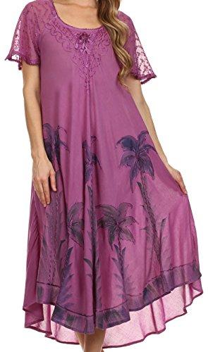 Sakkas 14610New - Kai Palmera Caftán del Vestido del Tanque/Cover Up - Violeta - Un tamaño Regular
