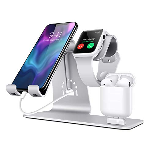 Rabbfay Portátil Inalámbrico Cargador, 3 en 1 Inalámbrico Cargando Estar por iPhone 12 Mini / 12 / 12Pro / 12 Pro MAX/iPhone 8/10/11 / Serie X/AirPods 2 / Pro/Apple Watch 2/3/4/5/60