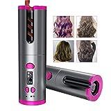 Rizador de pelo automático inalámbrico, inalámbrico, inalámbrico, inalámbrico, inalámbrico, inalámbrico, portátil, portátil, con revestimiento de cerámica y 6 ajustes de temperatura con pantalla LCD.