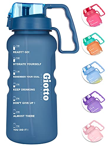 Giotto Large 1 Gallon/128oz Motivational Water Bottle with Time Marker & Straw,Leakproof BPA Free Sports Water Jug with Handle to Ensure You Drink Enough Water Throughout The Day