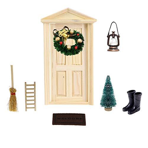 witgift Juego de accesorios para casa de muñecas en miniatura, con minipuerta de madera, lámpara de aceite, escalera, corona de Navidad, alfombra, zapatos, escoba y árbol para puerta de gnomo
