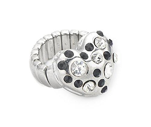 Lovely Lauri Damen Ring Herz Liebe Größenverstellbar Strass Silber