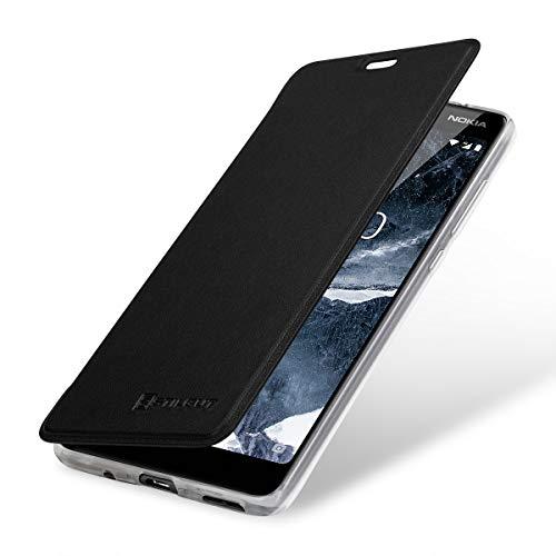 StilGut Berlin Book Type Hülle, Hülle aus Leder & transparentes TPU für Nokia 5.1. Seitlich klappbares Flip-Hülle mit NFC/RFID Blocker. Schwarz/transparent