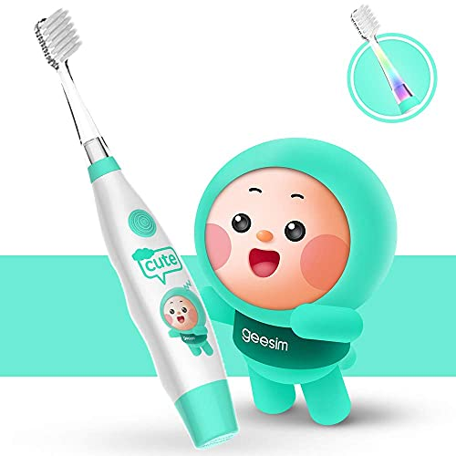 Kids& Baby Toothbrush Electric Sonic Battery Powered with Smart Timer and Colorful LED, Baby &Kids Electric Toothbrushes