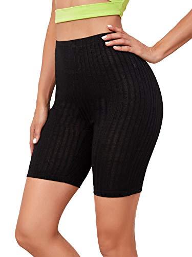 Floerns Women's High Waist Tie Dye Skinny Biker Shorts Pure Black M