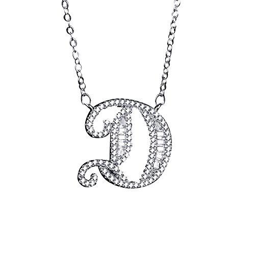 Uloveido A-Z Letra Inicial Colgante de Collar de Oro Blanco para Mujeres Niñas Niños Niños Hombres Amigo con Cubic Zirconia Stone CZ Crystals NL025