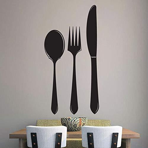 NSRJDSYT Löffel Gabel Messer Vinyl Walll Aufkleber für die Wand Küche Wandkunst Utensilien Wanddekoration Besteck Wandtattoo 113x57cm