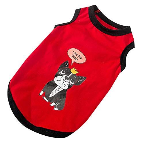 PanDaDa Hunde Bekleidung Sommer Weste für kleine Hunde Teddy Ärmelloses T-Shirt Kostüm Weste Gelb Rot Weiß