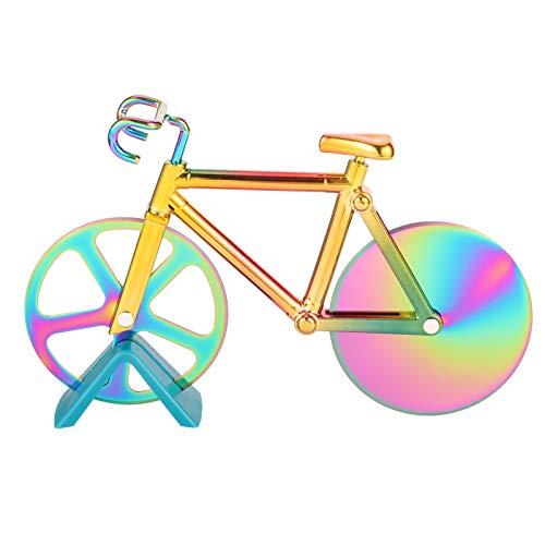 QINREN Fahrrad Pizzaschneider Lustig Edelstahl Bike Pizza Cutter für Party, Geschenk(Mehrfarbig)