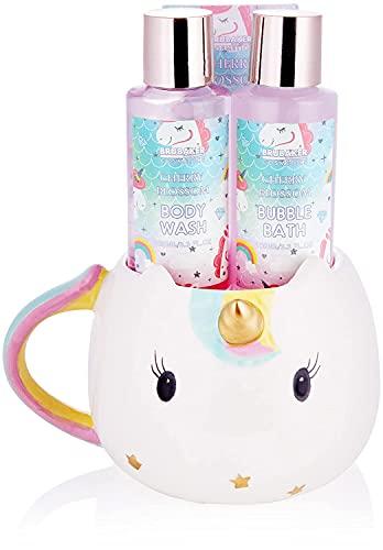 BRUBAKER Cosmetics 4-tlg. Einhorn Bade- und Dusch Set Cherry Blossom - Geschenkset mit Kirschblüten Duft in Einhorn Tasse