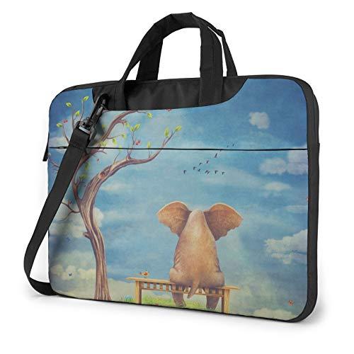 Laptop Shoulder Bag - Sad Elephant Sitting On Bench Printed Shockproof Waterproof Laptop Shoulder Backpack Bag Briefcase 14 Inch