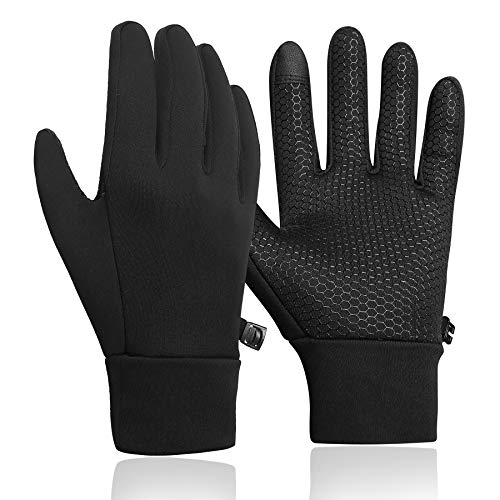 KELOYI Handschuhe Herren Touchscreen Fahrradhandschuhe Winter Outdoor Sport Laufen Handschuhe Damen Rutschfest Trainingshandschuhe Warme Schwarze M