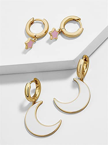 DALIANMAO Pendientes Femeninos Pendientes de Rhinestone Set Increíble Precio Oro Pequeño Poder Pendiente para Mujeres Joyería (Metal Color : 2 Pair Style 4)